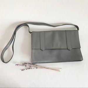 Vintage Minimalist Grey Leather Shoulder Bag